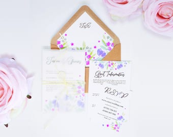 Lilac Wedding Invitation Set with Vellum Wrap. Lavender Watercolour Flowers. Handmade Purple RSVP, Envelope, Invitation & Guest Information.