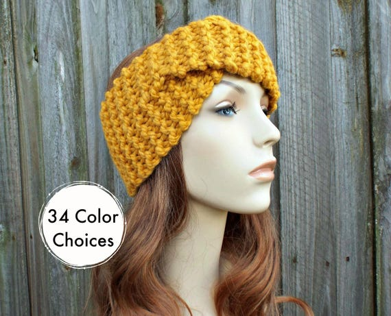 Twisted Turban Knitted Headband in Mustard Yellow - Mustard Headband Mustard Earwarmer Womens Headwrap - Knit Accessories - 34 Color Choices