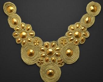 Beaded Metallic Neckline Collar Applique, Bridal Applique by 1 pc, 13''H x 12''W, LT-1003