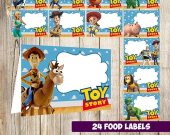 24 Toy Story Food Tent Cards instant download, Printable Toy Story Labels, Toy Story food Table Label