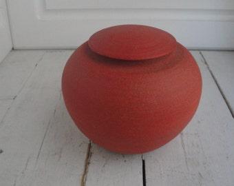 Vintage Urn Lidded Orange Art Pottery