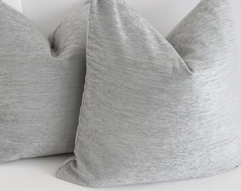 Silver Chenille Pillow Covers- Silver Pillows- Chenille Pillows