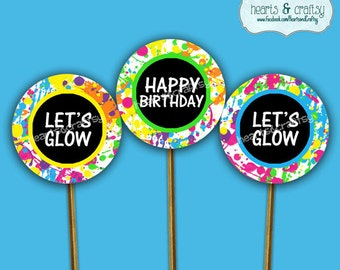 Glow Party Cupcakes - Glow Birthday Cupcake Toppers & Wrappers - Neon Glow - Print Your Own FILE to PRINT DIY