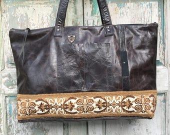 Brown Italian Leather Hide Bag, Brown Weekender Bag, Leather Diaper Bag, Leather Carry on Bag,  Work Bag, Vintage Embroidery ,Leather Trim