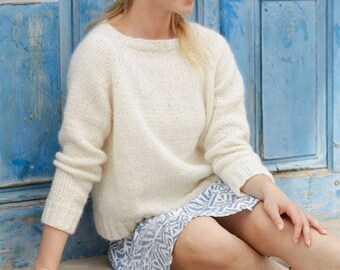 Elegant Merino/Alpaca sweater hand knit in different colors