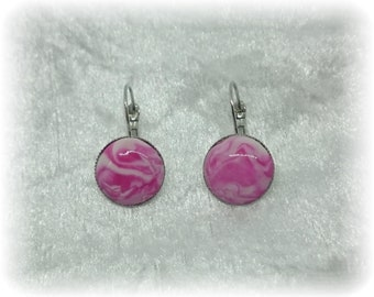 In the heart of the rose - Stud Earrings - pink wave