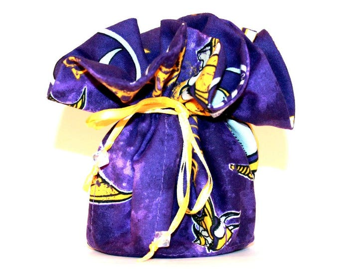 MINNESOTA VIKINGS Fabric Jewelry Organizer ~ Pouch ~ Storage Case ~ Bag ~ Tote - Bell Art Designs ~ Medium JBMD398