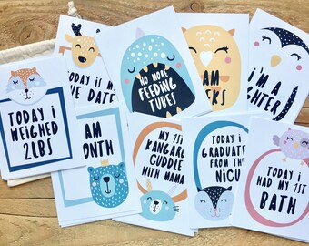 Milestone Flash Cards - NICU Milestones, Photo Prop, Smiley Animals, 4.25 x 5.5 cards
