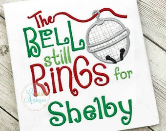 The Bell Still Rings For Sleigh Bell Applique Digital Machine Embroidery Design 4 Sizes, reindeer bell applique, polar express bell applique