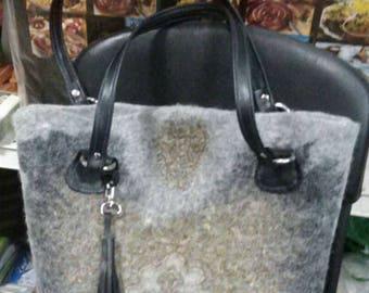 Bag felt Bag with patterns Wet felted bag Floral embellished bag Woolen bag Handle naturalnaya skin Felt bag Beautiful female bag Grey bag