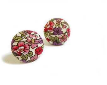Clip On Earrings / Stud Earrings / Fabric Button Earrings - purple and red floral earrings