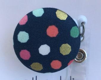 Interchangeable Badge Reel   Polka Dots   Nurse Name Badge ID Holder, Alligator, Interchangeable Retractable   Personalized