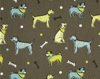 SALE Dog Fabric by the BOLT Wholesale yardage blue green brown natural fuzzy buddies mantis macon Premier Prints Home Decor upholstery 30 ya