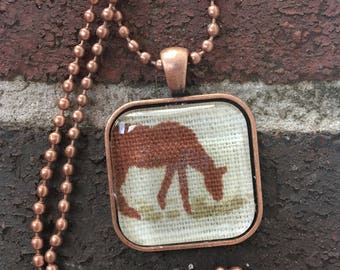 Horse Vintage Fabric Pendant Necklace.