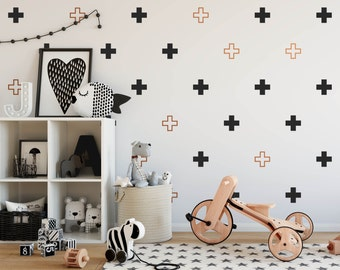 Plus Sign Wall Decals - Multicolored Swiss Cross Decals, Modern Wall Decals, Geometric Decals, Scandinavian Interior, Minimalist Decor