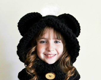 Black Bear Hat - Black Bear Hoodie - Black Bear Cowl - Animal Hat - Hooded Scarf - Crochet Hoodie - Chunky Crochet Hat