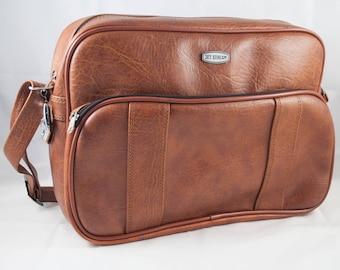 Jet Stream 70s brown suitcase brown carry on bag brown vinyl tote 1970 - Shoulder Bag