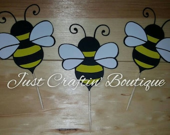 Bumble bee cupcake toppers // first bee-day