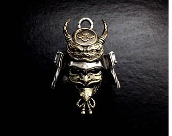 """Sengoku Samurai Warrior """"Kabuto"""" Silver Pendant """"Shingen Takeda"""""""