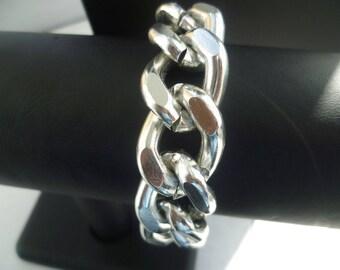 Silver Chunky Curb Chain Bracelet, Chunky Chain Jewelry, Silver Chain Bracelet, Chunky Jewelry