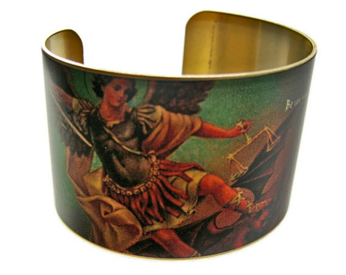SAINT MICHAEL the ARCHANGEL Cuff Bracelet brass Gifts for her