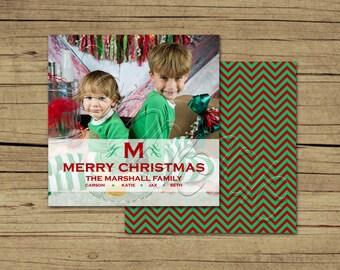 25 5x5 Square Monogram Photo Holiday Cards