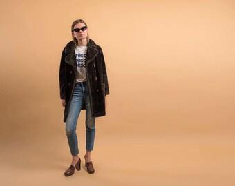 60s Faux Fur Coat / Mod Faux Fur Coat / Vintage 1960s Coat / Brown Faux Fur Coat Δ fits sizes: XS/S/M/L