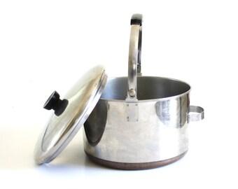 Revereware Dutch Oven 6 qt Bail Handle, Copper Clad Stainless Steel, with Process Patent No, Revere Copper Bottom Pots Pans