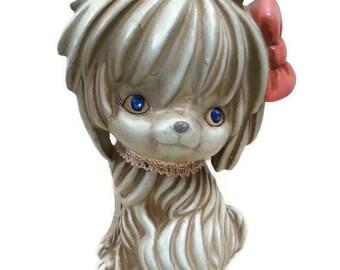 Vintage Napcoware Dog Bank Rhinestone Eyes National Potteries Co Japan