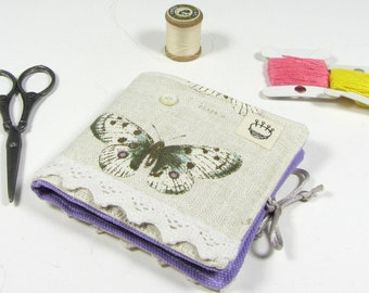 Needle book, sewing supply, butterfly pin case, small needle holder, fabric book for sewing, pins and needles, needle storage