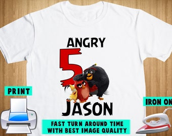 Angry Birds Iron On Transfer / Angry Birds Birthday Shirt DIY / Angry Birds Shirt DIY / Angry Birds Party / Personalize Name / Digital Files