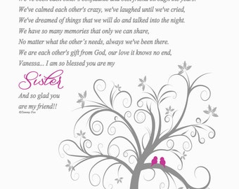 Will You be My Maid of Honor Sisters Gifts-Bridesmaid Thank You Print-Sisters Poem-Sister Wedding Gifts-Personalized Print-We've Shared Poem