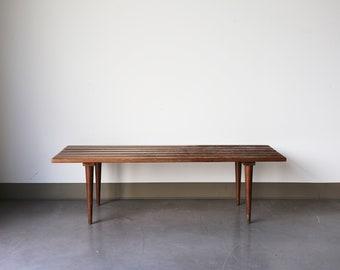 Long Vintage Wooden Slat Bench