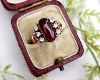 Vintage 9ct Yellow Gold and Silver Carbuncle Cabochon Garnet and Spinel Statement Ring / Size P 1/2