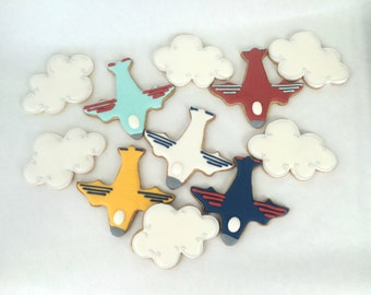Airplane Party Cookies - Multi Colors - Sugar Cookies - Cloud