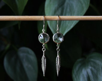 Swarovski Crystal and Feather Dreamcatcher Sterling Silver Earrings