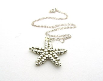 Beaded Starfish Pendant Silver Coloured Handstitched Beadwoven
