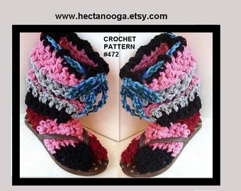 PATTERNS, CROCHET,slippers, Boot Slippers, Hectanooga. all sizes from Age 5 to 12, num. 472A, instant download