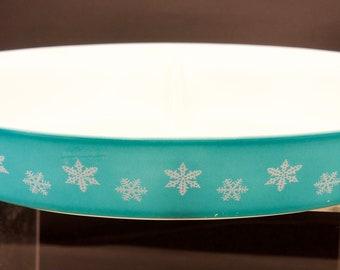 Pyrex Turquoise Snowflake Divided Vegetable Serving Dish - No Lid - Vintage Pyrex