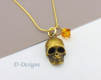 Skull Necklace, Tarnish Resistant Gold Plated Skull Birthstone Necklace
