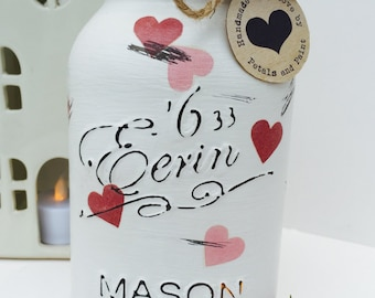 Handmade Emma Bridgewater Mason Jar Pink Hearts