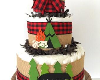 Little Lumberjack Diaper Cake, Cabin Fever Baby Shower Centerpiece, Woodland Baby Shower Decorations