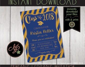 Graduation Invitation | Blue + Gold Graduation Invitation | Blue + Gold Graduation Invite | BBQ Graduation Invite | Graduation Party Invite