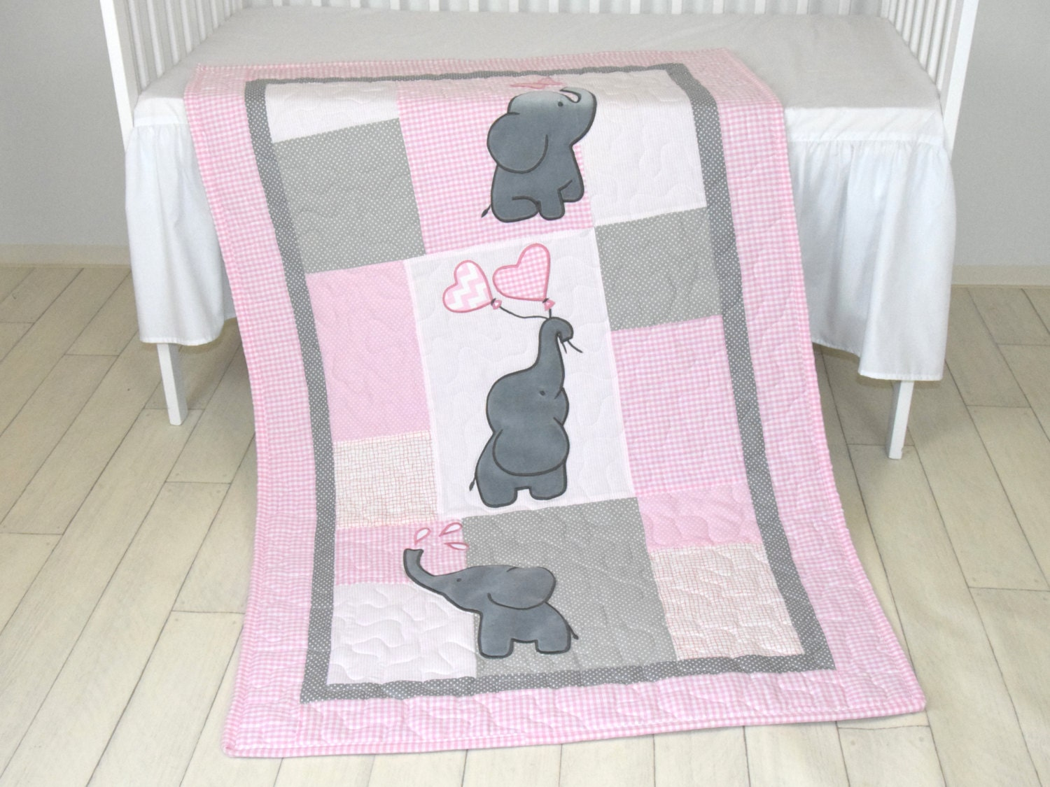 Twin Baby Quilts Pink Blue Twin Crib Bedding Elephant