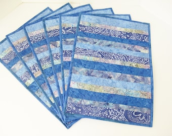 Quilted Placemats, Blue Placemats, Handmade Placemats