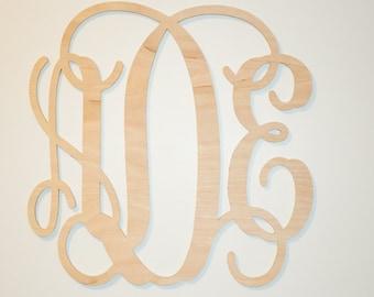 "Wooden monogram 24""  DIY  Unpainted  wooden monogram wall decor Personalized nursery monogram  wedding monogram  Large monogram above crib"
