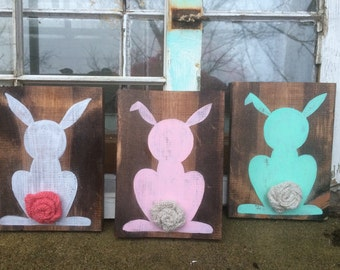 Rustic easter decor, Easter decor, bunny wall hangings, easter bunny decor