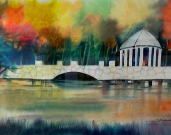 Piedmont Park Watercolor Painting, Autumn Art, Landscape Print, Atlanta Art Print, Watercolor Art, Home Decor Art, Fall Art, Fall Decor, Art