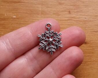 10 Silver Snowflake charms