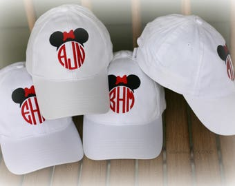 Monogrammed Ball Cap-Family Vacation Hats- Custom Mrs.Mouse Or Mr.Mouse Ball cap- Vacation Ball Caps-Coordinating Family Hats
